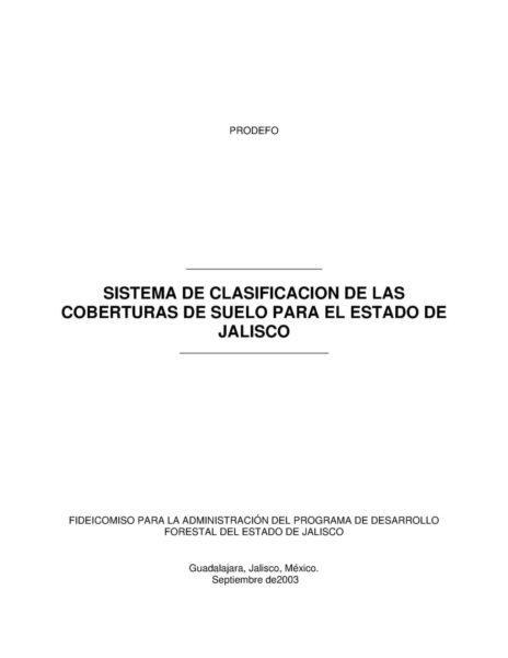 Clasificación de coberturas de suelo en Jalisco
